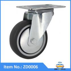 Soft grey TPR castor wheel without brake medical roller