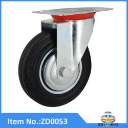 Industrial swivel black rubber  caster wheels,wheel castors
