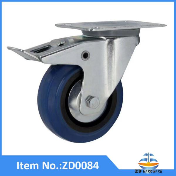 Heavy Duty Blue Elastic Rubber Castor Wheel