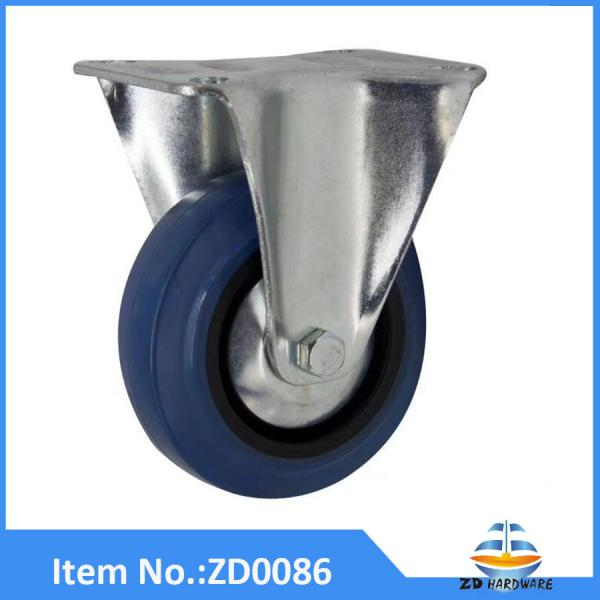 Rigid castor wheel swivel blue rubber elastic roller
